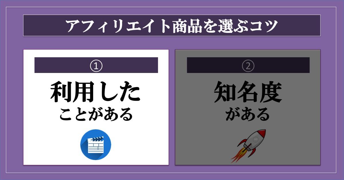 アフィリエイト商品選び_利用したことがある商品