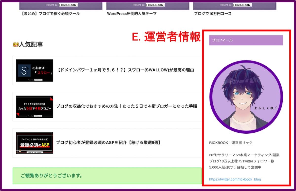 ブログトップページの作り方_3つの構成要素_運営者情報例