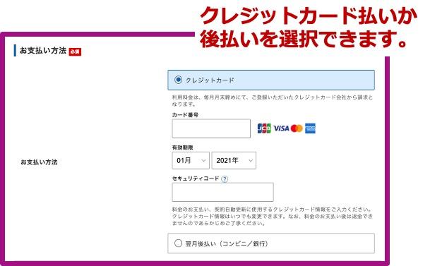 エックスサーバーお申し込み_支払い情報